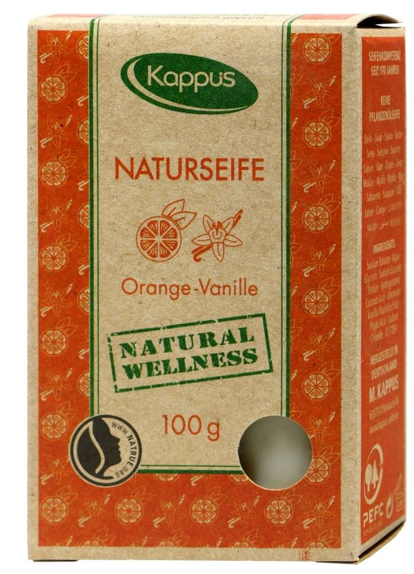 Kappus Naturseife Orange-Vanille, 100 % Vegan 100 g